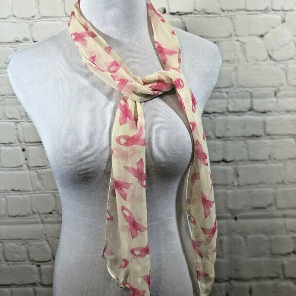 Breast Cancer Ribbons on Dark Pink Fleece Scarf